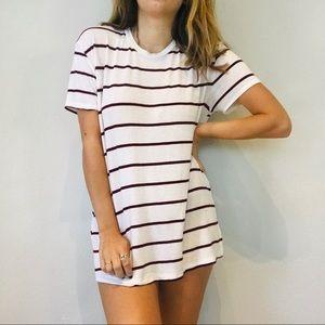 Brandy Melville Dresses - Brandy Melville striped maroon & white tee dress